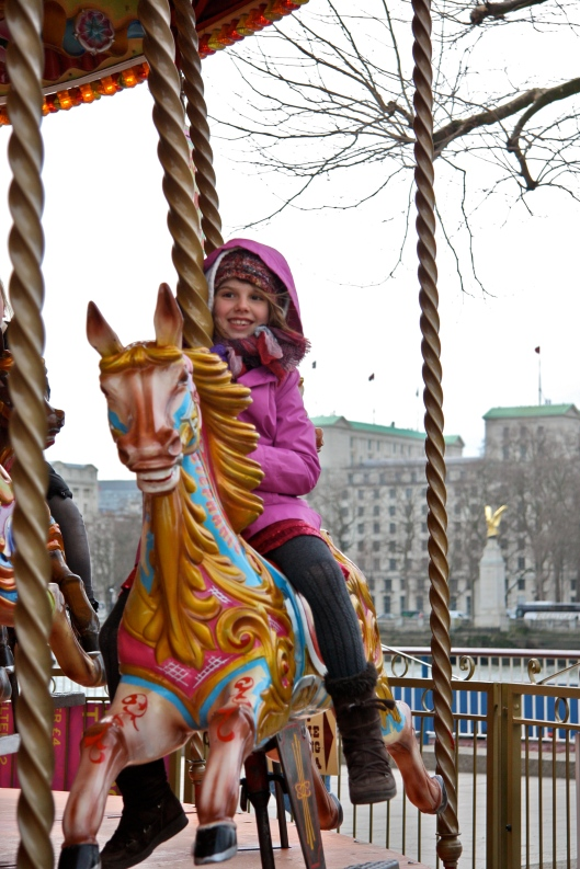 on the merry-go-round on a cold day