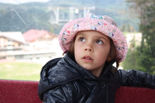 anaïs staring up as the gondola went up into the hills